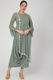 Olive Green Dress With Embroidered Border by Nayna Kapoor