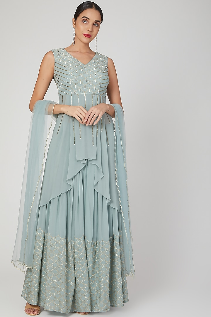 Mint Blue Embroidered Skirt Set by Nayna Kapoor