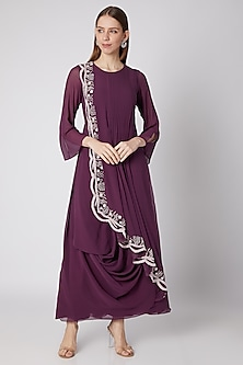 Wine Floral Embroidered Pleated Dress by Nayna Kapoor
