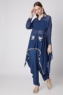 Blue Floral Embroidered Tunic & Pants Set by Nayna Kapoor