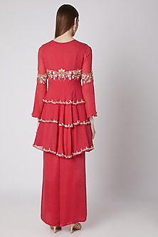 Coral Embroidered Kurta Set by Nayna Kapoor