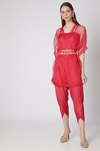 Coral Floral Embroidered Crop Top & Pants Set by Nayna Kapoor
