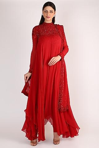 Red Embroidered Kurta Set by Nakul Sen