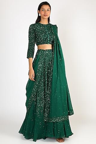 Emerald Green Embroidered Lehenga Set by Nakul Sen