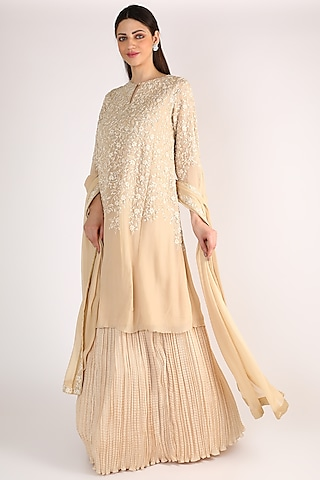 Ivory Embroidered Kurta Set by Nakul Sen
