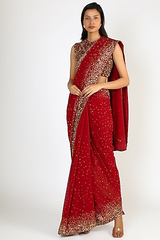 Red Embroidered Saree Set by Nakul Sen