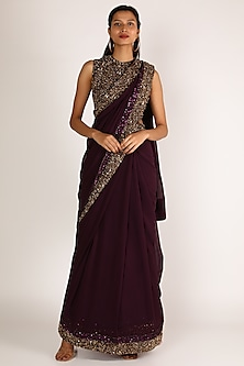 Wine Sequins Embroidered Saree Set by Nakul Sen