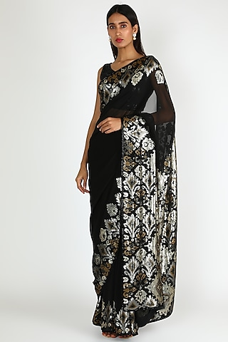Black Chiffon Saree Set With Sequins Work by Nakul Sen