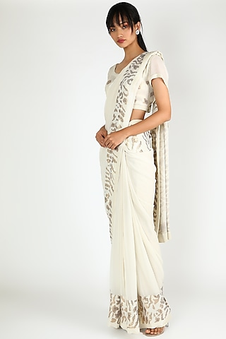 White Chiffon Saree Set With Sequins Work by Nakul Sen