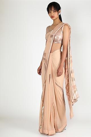 Blush Pink Sequins Embroidered Saree Set by Nakul Sen