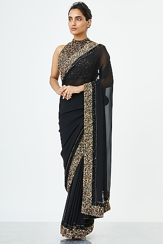 Black Embroidered Saree Set by Nakul Sen