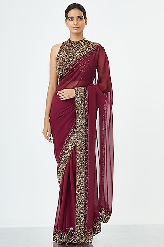Wine Embroidered Saree Set by Nakul Sen