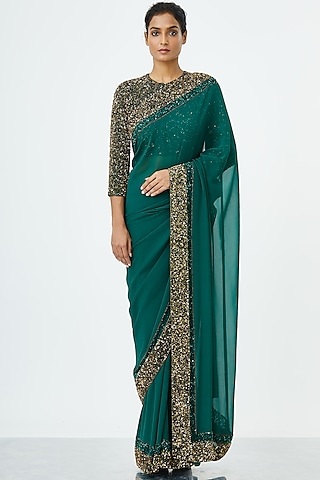 Emerald Green Embroidered Saree Set by Nakul Sen