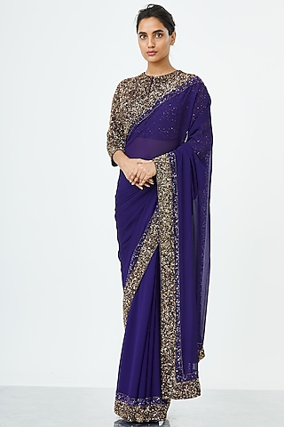 Violet Embroidered Saree Set by Nakul Sen