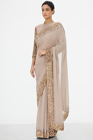 Beige Embroidered Saree Set by Nakul Sen