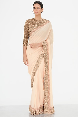 Blush Pink Embroidered Saree Set by Nakul Sen