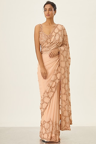Peach Embroidered Saree Set by Nakul Sen