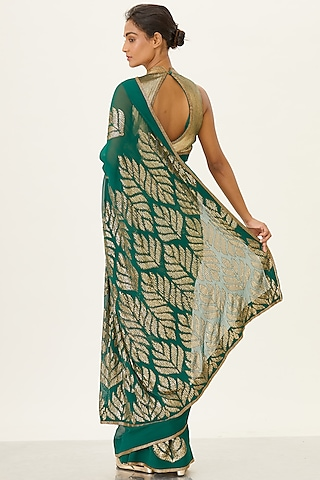 Emerald Green Sequins Embroidered Saree Set by Nakul Sen