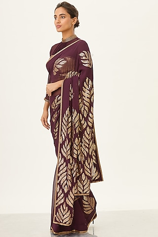 Aubergine Sequins Embroidered Saree Set by Nakul Sen