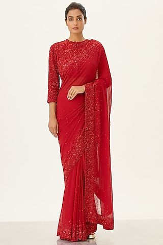 Red Embroidered Chiffon Saree Set by Nakul Sen