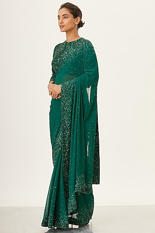 Emerald Green Embroidered Chiffon Saree Set by Nakul Sen