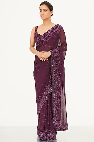 Purple Sequins Embroidered Saree Set by Nakul Sen