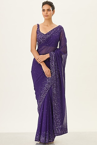 Purple Embroidered Chiffon Saree Set by Nakul Sen