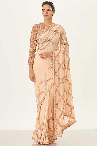 Blush Pink Sequins Embroidered Saree Set by Nakul Sen