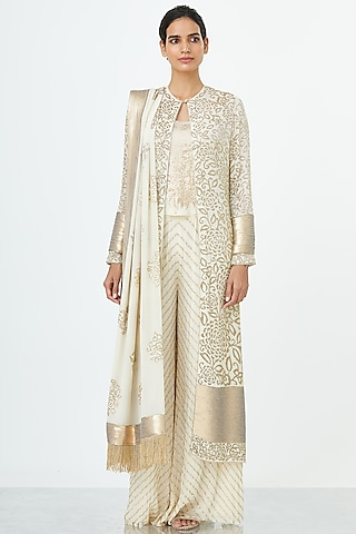 Ivory Embroidered Jacket Set by Nakul Sen