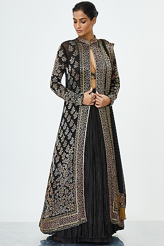 Black Embroidered Jacket Set by Nakul Sen