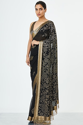 Black Embroidered Chiffon Saree Set by Nakul Sen