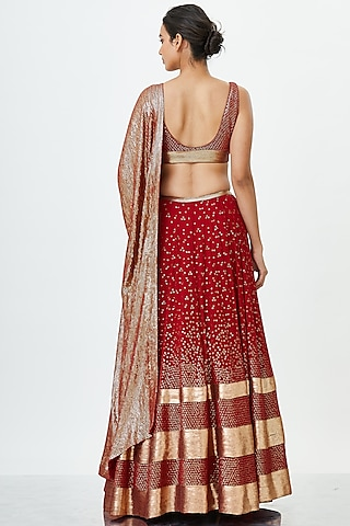 Red & Gold Embroidered Lehenga Set by Nakul Sen