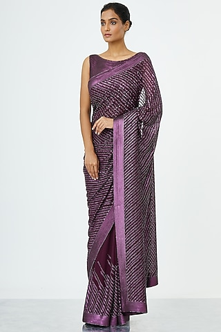 Aubergine Purple Embroidered Saree Set by Nakul Sen