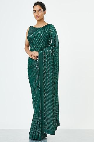 Emerald Green Embroidered Saree Set by Nakul Sen