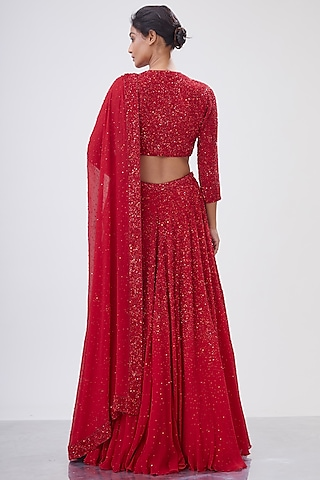 Red Embroidered Lehenga Set by Nakul Sen