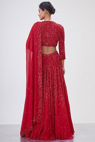 Red Embroidered Lehenga Set by Nakul Sen