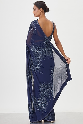Navy Blue Sequins Embroidered Saree Set by Nakul Sen