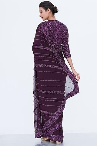 Aubergine Embroidered Saree Set by Nakul Sen