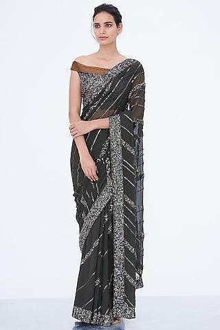 Black Sequins Embroidered Saree Set by Nakul Sen