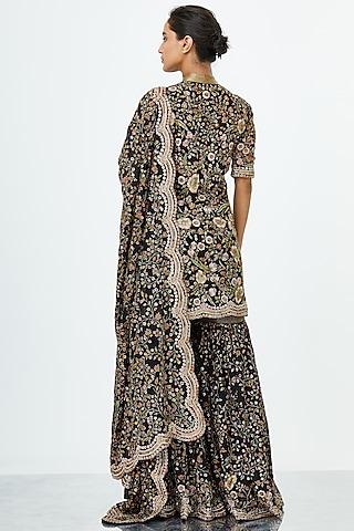 Black Embroidered Sharara Set by Nakul Sen