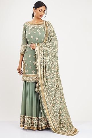 Sage Green Embroidered Sharara Set by Nakul Sen