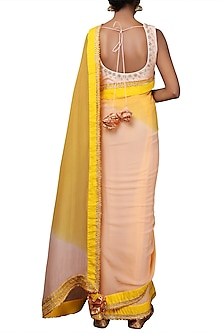 Yellow & Pink Embroidered Saree Set by Nikasha