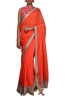 Coral & Rani Pink Embroidered Saree Set by Nikasha