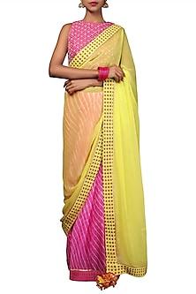 Lime Green & Pink Embroidered Printed Leheriya Saree Set by Nikasha