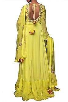 Lime green Embroidered & Printed Kalidar Kurta With Dupatta by Nikasha