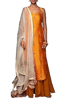 Lilly Ochre Embroidered Sharara Set by Nikasha