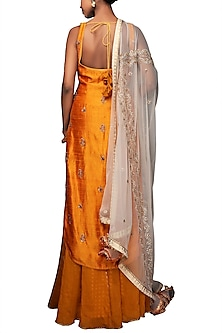 Lilly Ochre Embroidered Sharara Set by Nikasha