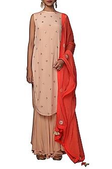 Caramel & Coral Embroidered Sharara Set by Nikasha