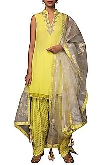 Lime Green Embroidered & Printed Patiala Kurta Set by Nikasha