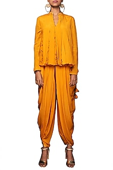 Lilly Ochre Paneled Top With Dhoti Pants by Nikasha